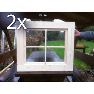 Holzfenster Kippfenster 63 x 63 cm - Doppelpack