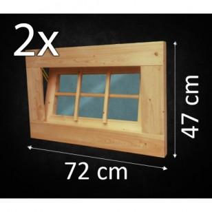 Holzfenster Kippfenster 72 x 47 cm - Doppelpack