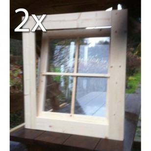 Holzfenster Kippfenster 72 x 82 cm - Doppelpack