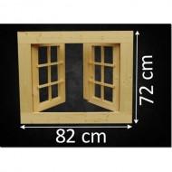 Holzfenster Doppelflügel 82 x 72 cm